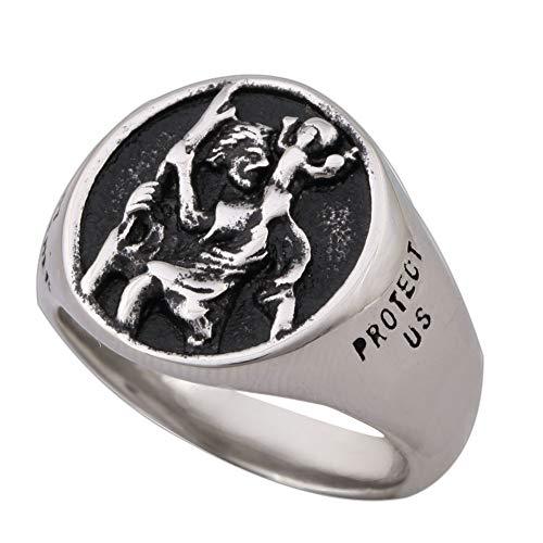 Zovivi Vintage Saint Christopher Protect Us Prayer Medal Stainless Steel Amulet Mens Womens Patron St Ring