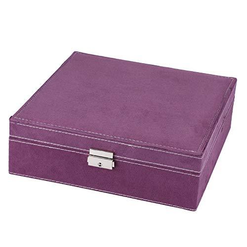 OIHODFHB Pendientes de joyería de doble capa púrpura anillos pulsera collar caja organizador almacenamiento