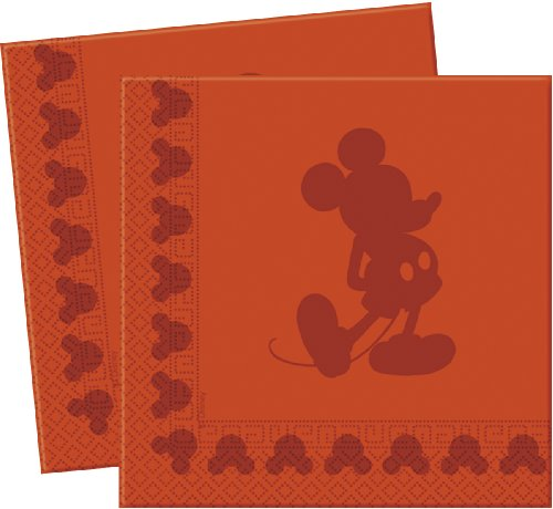 20 serviettes de table en papier Silhouette Disney Mickey Mouse Rouge