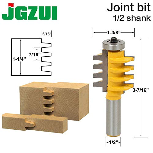 Best Quality - Milling Cutter - 1/2 inch Shank Rail and Stile Finger Joint Glue Router Bit Cone Tenon Woodwork Cutter Power Tools RCT 15380 - by tto - 1 PCs