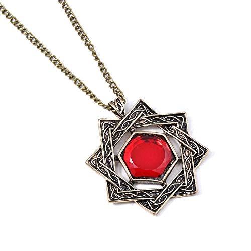 MINTUAN Spiel The Elder Scrolls 5 Skyrim Halsketten Amulett von Mara Arkay Morrowind Lange Halskette Dunkle Bruderschaft Roter Kristall Anhänger Geschenk