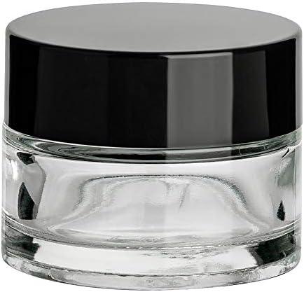Juego de 12 tarros vac/íos para crema gouveo 15 ml, con cierre de rosca, color negro y folleto, bote de crema, bote de base
