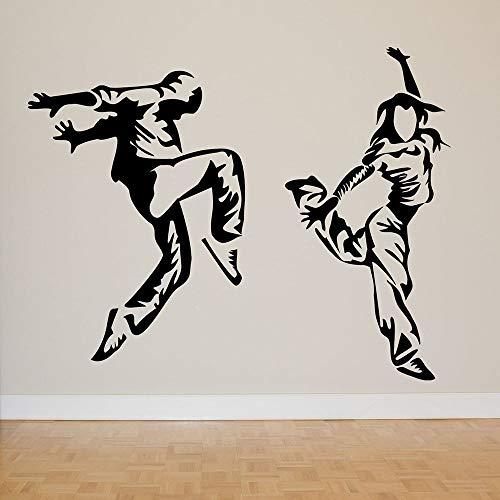 SUPWALS Pegatinas de pared Hip Hop Dancers Tatuajes De Pared Breakdance Dance Studio Adolescentes Dormitorio Decoración Interior Estilo Fresco Puerta Ventana Vinilo Pegatinas Mural 110X139Cm