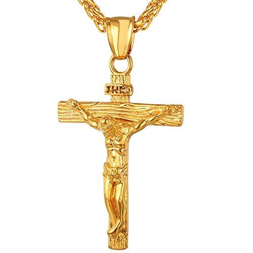 U7 Collar Personalizable de Cruz INRI Crucifijo con Jesús, Material Acero Inoxidable, con Cadena Espiga/Cordón, Joyería Religiosa para Hombres y Mujeres