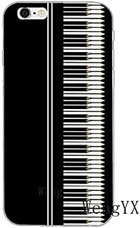 White Black Piano Pattern Galaxy S7 Edge Case Music Theme I Phone Cover Musical Italian Orchestra Italy Keyboards Instrument Organ Classic Cellphone Protector, Plastic