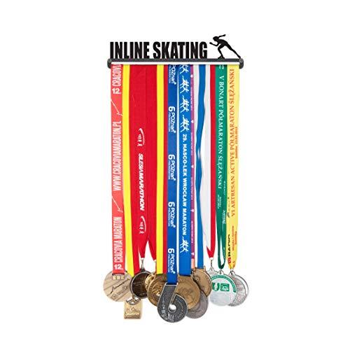 Medaillenhalter Medaille Aufhänger Medal Hanger Display - Version Name: Inline Skating - 28 cm! - Medaillen zum Aufhängen: bis zu 20 - Stahl mit schwa.