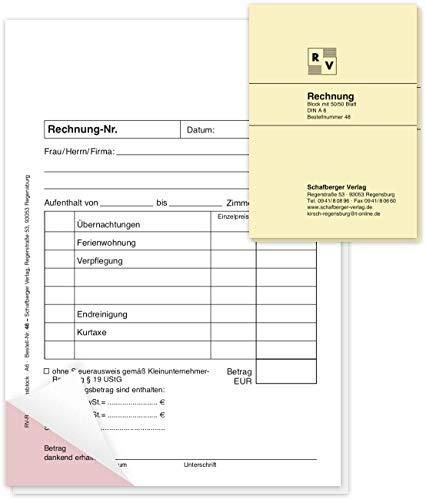 2 Rechnungsblöcke DIN A6 speziell für Hotels, Pensionen, Beherbergungsbetriebe, Vermietungen usw.