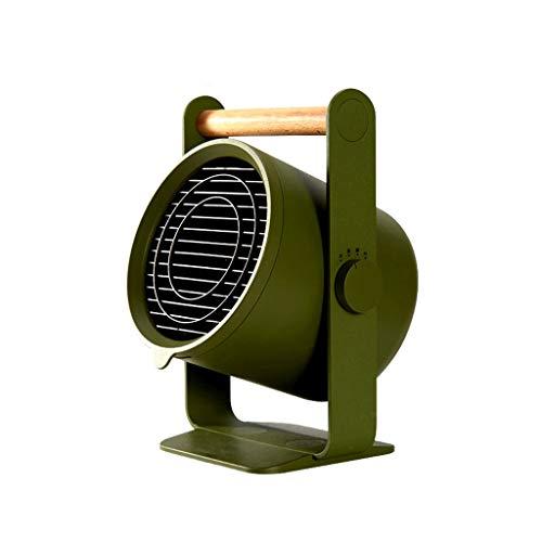 Elektrische Heizung, kleiner tragbarer keramischer Kern-Metallbüro-Haushalt 1500W des Ventilator (Farbe : Armeegrün)