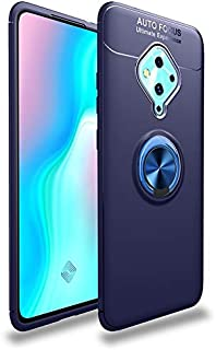 Cassby Back Cover Kickstand View Ring Holder Armor Case Cover for Vivo S1 Pro (Blue)