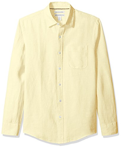 Amazon Essentials Slim-fit Long-Sleeve Linen button-down-shirts, Gelb (Yellow), Large