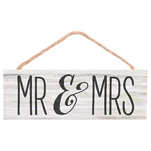 P. Graham Dunn Mr. and Mrs. Weathered White 10 x 3.4 Pine Wood String Sign