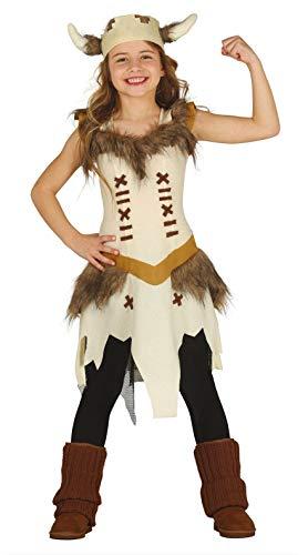 Guirca Wikingerin Kostüm für Mädchen - Größe 110-146 - Kinder Fasching Karneval, Größe:110/116