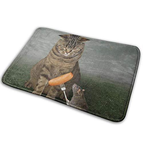 Wdoci Badematte Teppich,Die Ratte füttert die große Katze.Es hält eine Gabel mit Einer Wurst,Bad Teppiche Teppich rutschfest(75cm x 45cm)