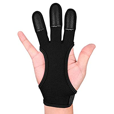 FitsT4 Archery Gloves Leather Three Finger Protector Bow Shooting Hunting Glove for Youth & Adult Beginner