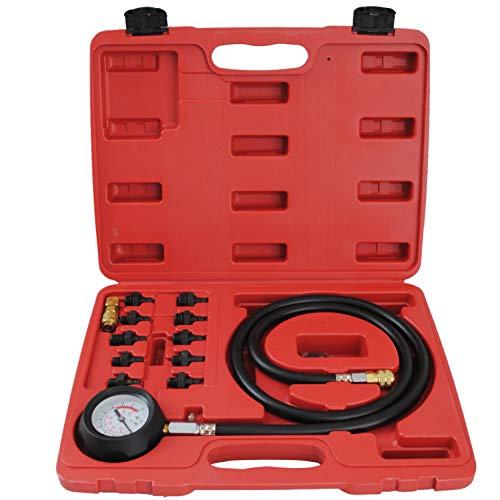 CCLIFE Öldruckmesser Öldrucktester Öldruckprüfer Öl-Meßgerät Prüfgerät Set 0-10bar