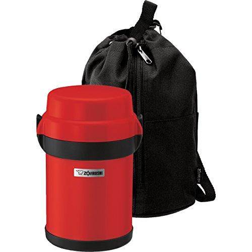Zojirushi SL-JAE14 Mr Bento Stainless Lunch Jar, Set of Two in Apple Red and Gun Metallic Colors plus 10 Pairs of Chopsticks
