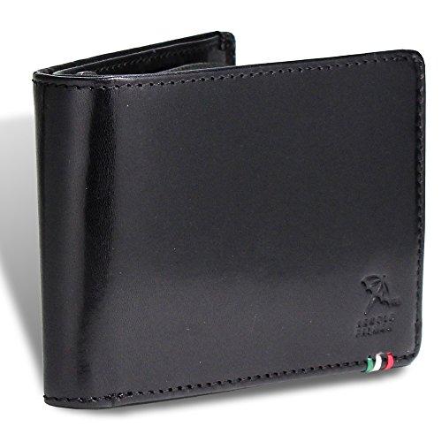 [アーノルドパーマー] 財布 メンズ 二つ折り財布 本革 イタリーレザー APS-3308 (black)