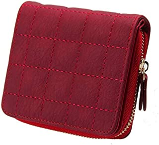 Bestvech Women's Pu Leather Plaid Purses Nubuck Card Holder
