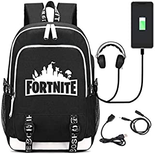 Fortnite design Multifunctional fashion cool Laptop Travel canvas Backpack,College School Bookbag with USB Charging Port,F...