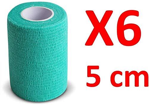 PintoMed BENDAGGIO COESIVO - VERDE - garza elastica, 6 rotoli x 5 cm x 4.5 m autoadesiva flessibile bende, qualità professionale, primo soccorso - Con