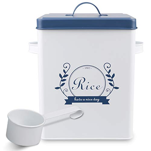 PAOPASE Square Metal Rice Flour Food Sundries Kitchen Storage Tin Canister Bucket Containers White