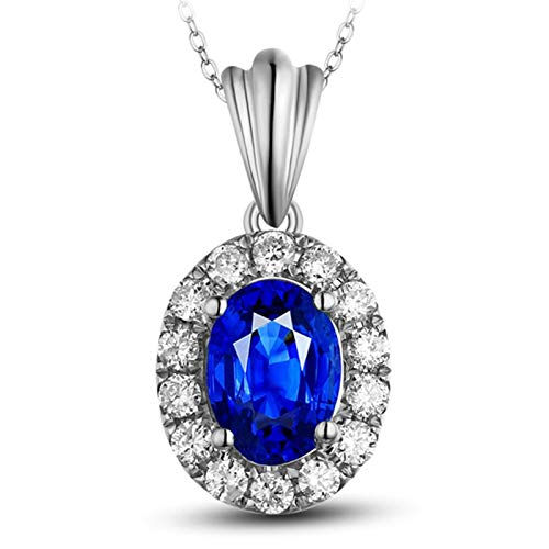 Dreamdge 18K Gold Necklace Oval Ladies Necklaces, 0.5ct Blue Sapphire Pendant Necklace