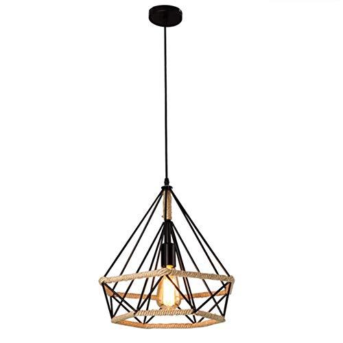 Lámpara Colgante Vintage,Luz de Techo Retro,Iluminación Suspensión industrial cuerda de cáñamo Loft luz E27,Diámetro 25 cm,Luz de cuerda industrial,Luz Colgante Industrial (1 Pieza)