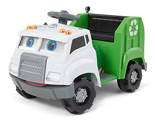 Kid Trax Real Rigs Toddler Recycling Truck Interactive Ride On Toy, Kids Ages 1.5-4 Years, 6 Volt Battery and Charger, Sound Effects, 9 Recycling Accessories Included (KT1535TG)