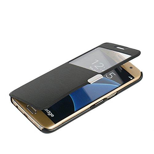 MTRONX pour S7 Edge Coque, Galaxy S7 Edge Coque, Fenetre Vue Ultra Slim Flip Magnetic Cuir Etui Housse Poche Cas Couverture pour Samsung Galaxy S7 Edge - Noir(MW-BK)
