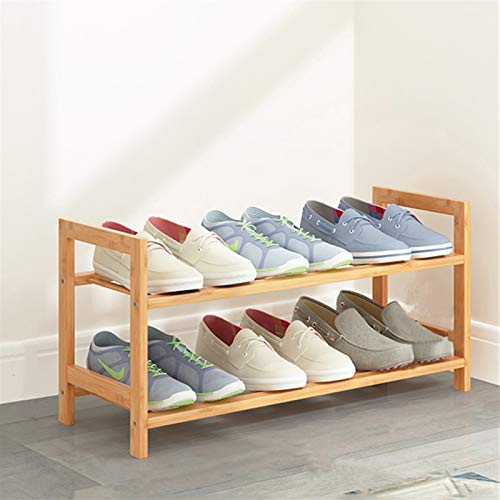 YFH Zapato, Tipo de bambú Tipo Multilayer Shoe HAV Room Sala de Madera Natural Estantería de Zapatos Estanterías (Color : Double Layer 50CM)
