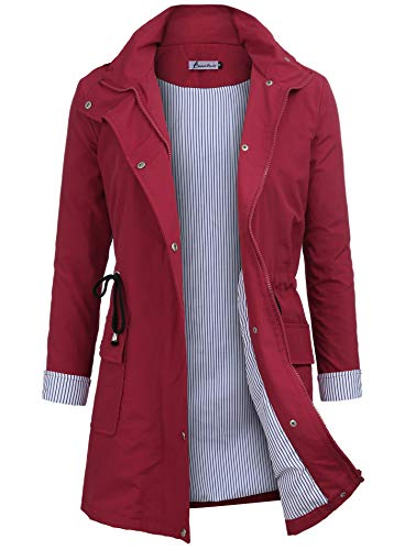 Twinklady Rain Jacket Women Windbreaker Striped Climbing Raincoats Waterproof Lightweight Outdoor Hooded Trench Coats Red S