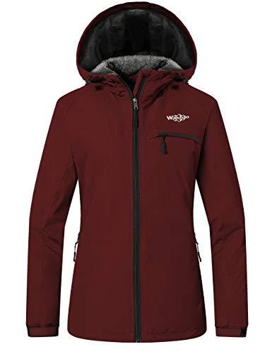 Wantdo Women's Waterproof Ski Jacket Winter Traveling Warm Snow Coat Wine Red S