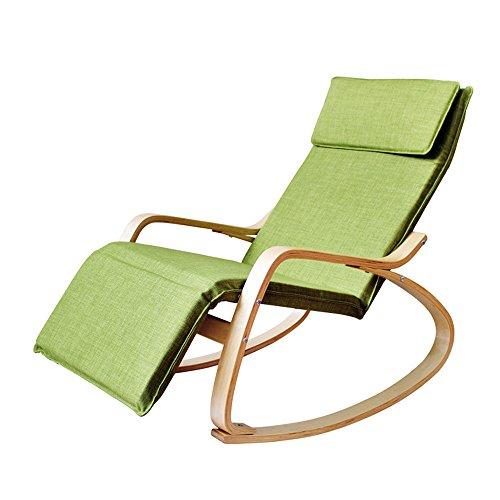 Chair Zhaizhen Chaise longue à bascule inclinable en bois massif pour adulte Couleur : vert