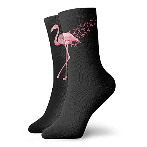 Flamingo Cáncer de Mama Concienciación Calcetines de Tobillo Para Hombres Mujeres Divertidos Calcetines de Compresión Atlética Calcetines 🔥