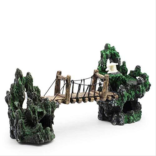 Acuario Simulación Rockery Paisajismo Paquete de decoración Puente de acuario Puente Puente colgante Pabellón Adornos Piedra de rocalla