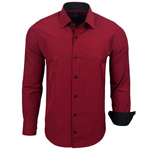 Rusty Neal Herren Kontrast Hemd Business Hochzeit Freizeit Slim Fit S bis 6XL A44, Größe:XL, Farbe:Bordo