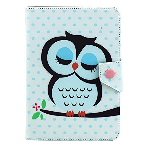 GHC Pad Fundas & Covers para iPad Air 1 Air 2, Universal 9,7 Pulgadas a 10,1 Pulgadas Tablet PC Portada de Cuero Impresa Cubierta para Samsung Huawei (Color : Cartoon Sleepy Owl)