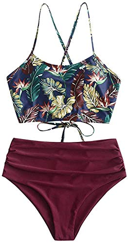 Sechico Women's Criss Cross Sunflower Printed Tankini Set High Waisted Swinsuit Bathing Suits(Dark Print M)