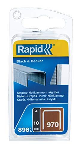 Rapid Tackerklammern Typ 970, 10mm Klammern, 896 Stk., Flachdrahtklammern für Black & Decker Hand- und Elektrotacker
