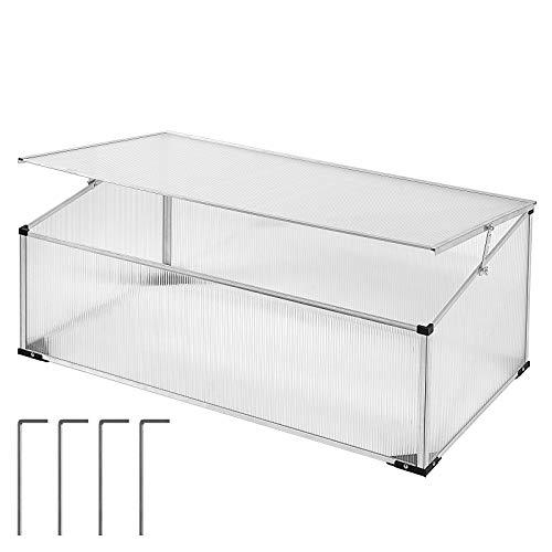 Gardebruk Frühbeet 0,60m² 100x60cm UV Schutz inkl. Heringe lichtdurchlässig Aluminium rostfrei Gewächshaus Treibhaus