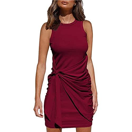Dames zomerjurk casual korte mouw mini-jurk pure kleur elegante ruches taille T-shirt strik riem onregelmatige jurk S-XXL maat, Rode Wijn, S