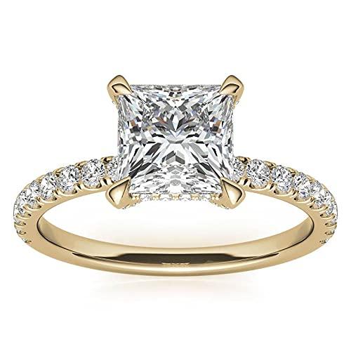 Customize Jewels - Anillo de compromiso con diseño de princesa de moissanita de 4 puntas de 4 quilates, 9 mm, con diamante de laboratorio en oro amarillo de 14 quilates D-VVS1 7