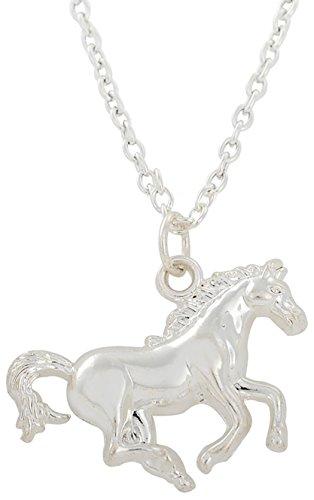 Niedlicher Pony-Anhänger mit rhodiniertem Pferd, Halskette für Teenager Mädchen und kleine Jungen, Geschenk Schmuck