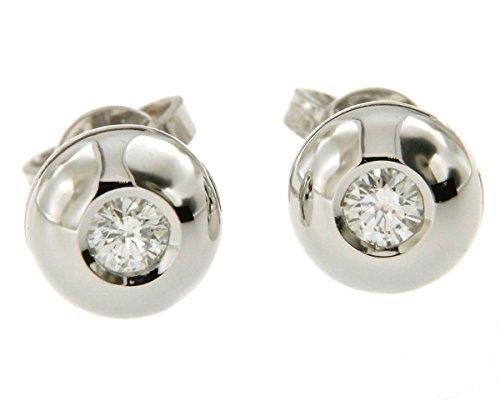 Orecchini punto luce a cipollina in oro bianco 750 18 kt con diamanti naturali - Orolab N44