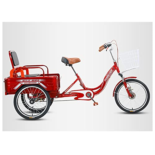 OFFA Triciclos De Adultos, Bicicletas De Crucero De Tres Ruedas De Una Sola Velocidad De 20' con Pasajero Y Carga, Bicicleta Estática Cómoda Conducción con Campana Y Canasta Desmontables