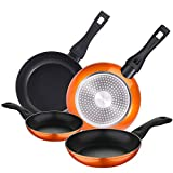 Bergner classic Set 4pcs sartenes inducción Orange Neon aluminio forjado, Naranja