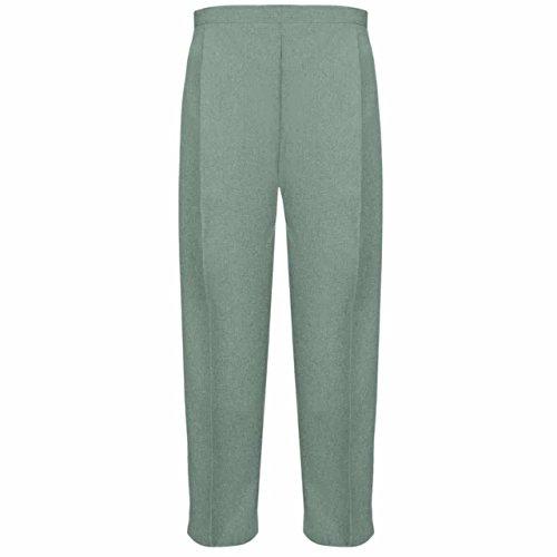 MyShoeStore Damen-Hosen, halb-elastisch, Stretch-Taille, leger, Büro, Arbeit, formell, zum Überziehen, gerades Bein, Hose mit Taschen, 2 Stück Gr. 22W x 25L, salbeigrün