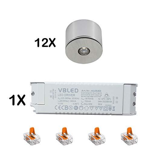 VBLED® Set van 12 3W LED Mini Spot/plafond opbouwspot aluminium, IP65, warm wit 3000K
