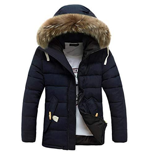 fnemo Männer mit Kapuze Daunenmantel Casual Langarm verdicken warme große Pelzkragen Outwear Mäntel