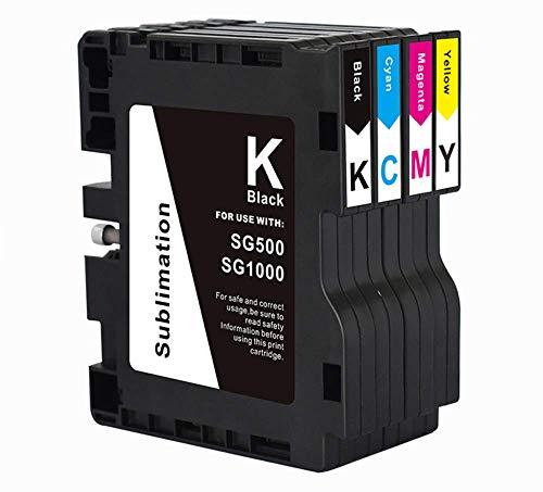 KSI Sublimation Ink Cartridge Compatible for Sawgrass Virtuoso SG500 SG1000 Printer (1 Black, 1 Cyan, 1 Magenta, 1 Yellow, 4-Pack)